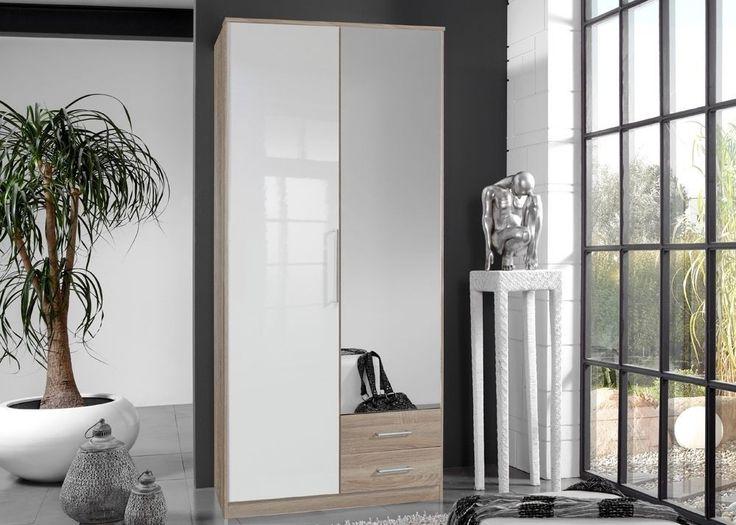Kleiderschrank Hochglanz Weiß Eiche Sägerau 4910. Buy now at https://www.moebel-wohnbar.de/kleiderschrank-hochglanz-weiss-eiche-saegerau-4910