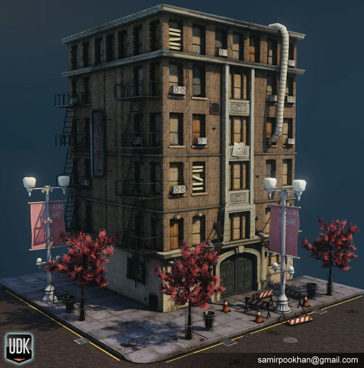 Office Building Test Game Low Poly