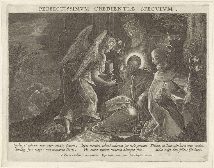 Raphaël Sadeler (II) | Christus wordt in Getsemane getroost door een engel, de Heilige Dominicus en de Heilige Catharina van Sienna, Raphaël Sadeler (II), Michael Snijders, 1596 - 1632 | Christus in de hof van Getsemane. Hij wordt getroost door een engel met een kelk en de H. Dominicus en de H. Catharina van Sienna. Op de achtergrond de drie slapende apostelen. De H. Dominicus en de H. Catharina van Sienna zijn de voorbeelden van de gelofte van gehoorzaamheid. De prent is deel van een…