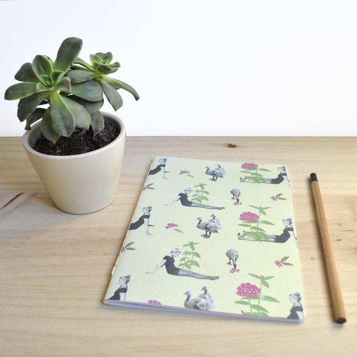 Libreta / Notebook Gansos A5 by Tijeras y Poemas (Ana Lorente).  #collage #notebook #tijerasypoemas #patterncollage #patterncollage