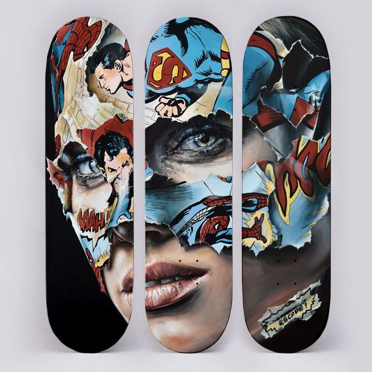 "Silkscreen on wood hand signed and numbered by Sandra Chevrier of a limited edition of 100. The work is formed by three skate decks and these are sold as a set. Size of each board: 80 x 20 cm. Using a skate deck as the media for certain works is nothing new when speaking about urban art. Artists such as Shepard Fairey (Obey), ROA, D*Face, KAWS or Nick Walker have used these boards to create some of their most saught after works. <span style=""color:#FF7A00;"">Immediate di..."