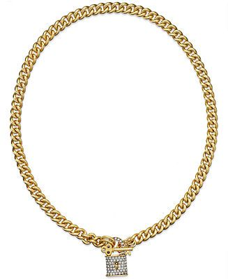 Juicy Couture Necklace Gold Tone Pave Padlock Chain