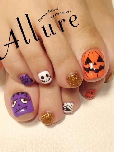 halloween toenails nail art pinterest nagelschere herbst n gel und herbst. Black Bedroom Furniture Sets. Home Design Ideas