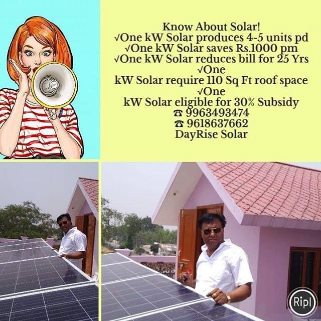 Know About Solar One Kw Solar Produces 4 5 Units Pd One Kw Solar Saves Rs 1000 Pm One Kw Solar Reduces Bill For 25 Yrs One Kw Solar Solar Reduce Bills The Unit