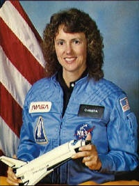 Christa McAuliffe-teacher. Killed in Space Shuttle Challenger accident.