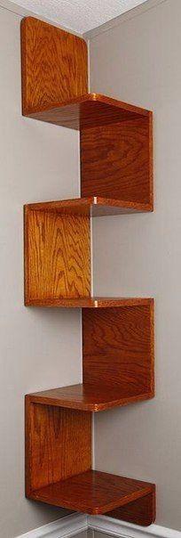 Угловая книжная деревянная полка из стандартных деталей