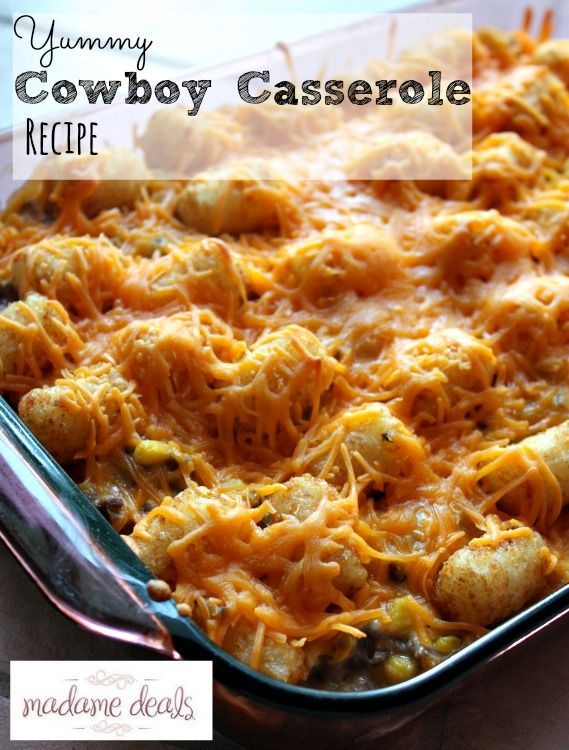 If you are looking for a great recipe for the cold winter nights then you will love this cowboy casserole recipe! Tater Tots, onions, cheese, corn, ground beef all combined in one hearty dish.    The whole family will love this dinner. Yeehaw!