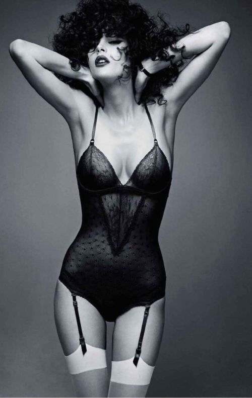 Love this 70s looking body suit, sheer black lacey lingerie