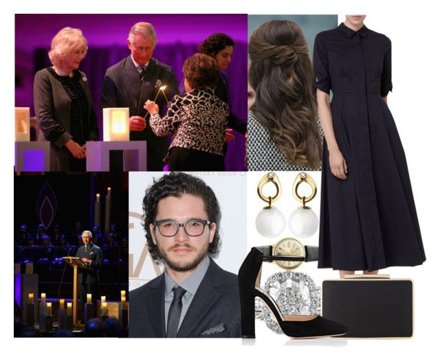"""Attending the a Holocaust Memorial Day Ceremony at Central Hall Westminster with Tom, her father and Camilla"" by alexandraofwales ❤ liked on Polyvore featuring Vivienne Westwood, Georg Jensen, L.K.Bennett and Gianvito Rossi"