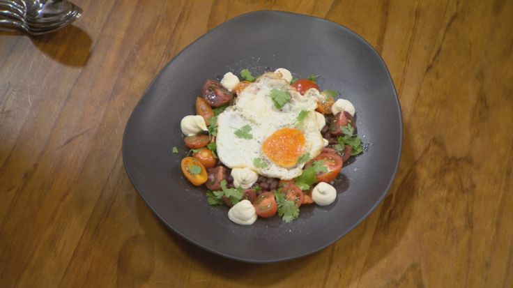 http://masterchefrecipe.net/fried-egg-black-bean-and-tomato-salad-and-goats-cheese-cream/