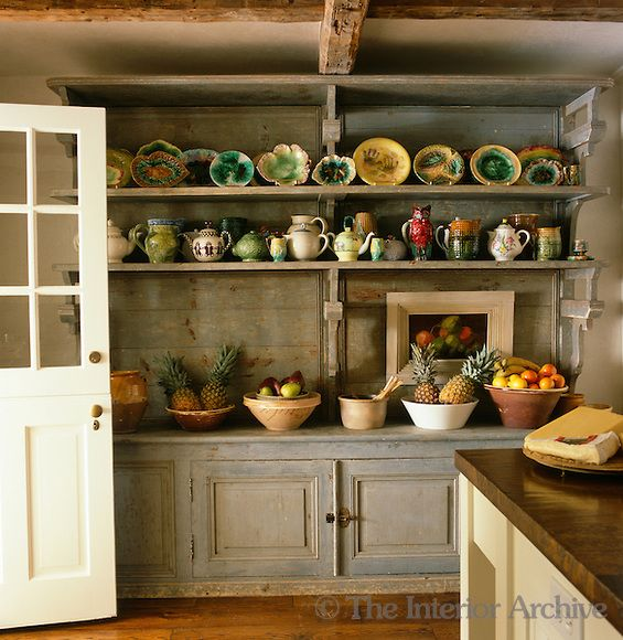 A Century French Dresser Found In Bakery The Dordogne Displays Collection Of Earthenware And Majolica Against One Wall This Rustic Kitchen Bunny