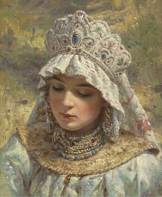 """Russian Beauty wearing a Kokoshnik"" by Makovsky (1939-1915).  The kokoshnik is a traditional Russian head-dress worn with folk costume..."