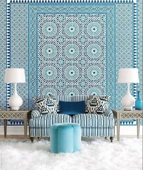 Moroccan style wallpaper by schumacher blue pinterest for Moroccan style wallpaper