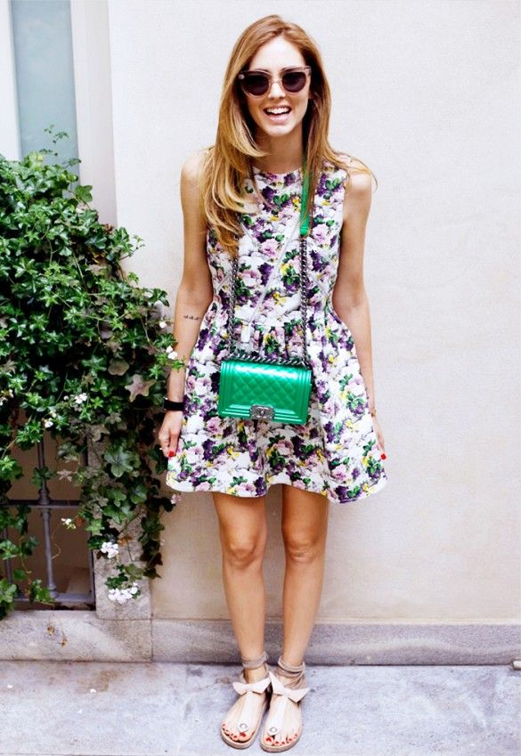 The Blonde Salad in a floral dress, statement bag and girly sandals