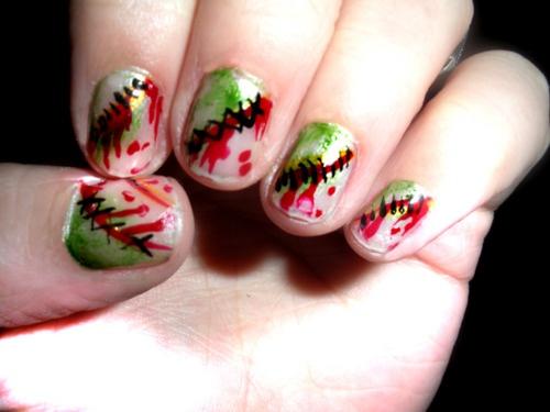 Zombie nails: Nails Nails, Nails Art, Oooo Nails, Zombie Nails, Nails Fun, Nails Hair, Zombies Nails, Hair Makeup Nails Perfume, Nails Glamour