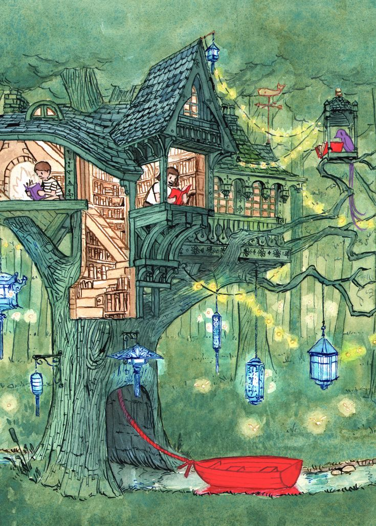 Gicleé Treehouse Print from New York Times Book Review Cover.  https://squareup.com/market/journey-official-store/