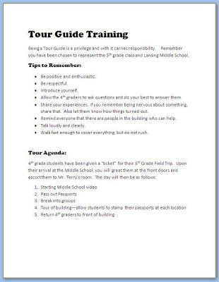 Tour Guide Training--what a good student tour guide needs to remember--transition to Middle School