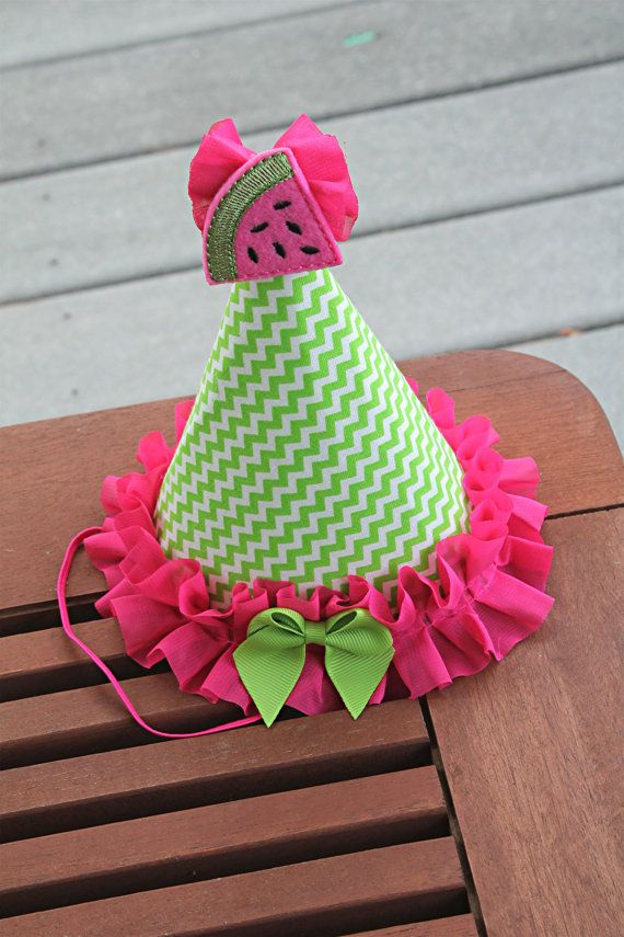 Check out this item in my Etsy shop https://www.etsy.com/listing/450759630/watermelon-party-hat-first-birthday-hat