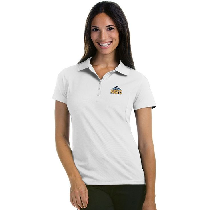 Women's Antigua Denver Nuggets Pique Xtra-Lite Polo, Size: Medium, White