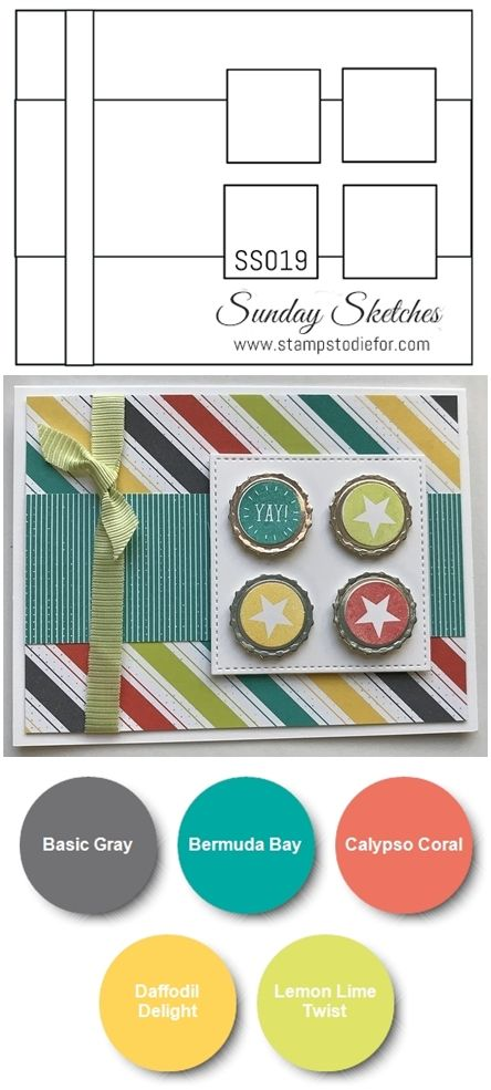 Card Sketch for hand stamped card SS019 using Bubble Over stamp set by Stampin Up from the 2018 Occasions catalog