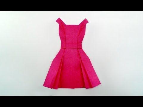 Great Origami-how to make paper Dress-暮らしを彩る、すてきなおりがみ雑貨-ワンピース、服の折り方- - YouTube