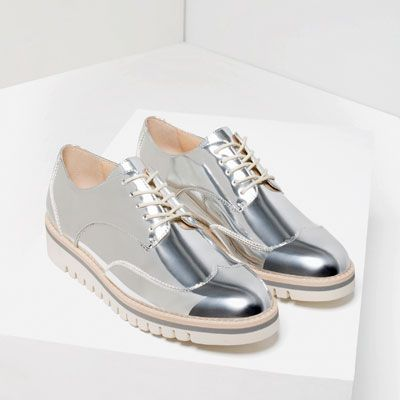 METALLIC FLAT SHOES WITH BROGUE DETAIL-View all-SHOES-WOMAN | ZARA United States