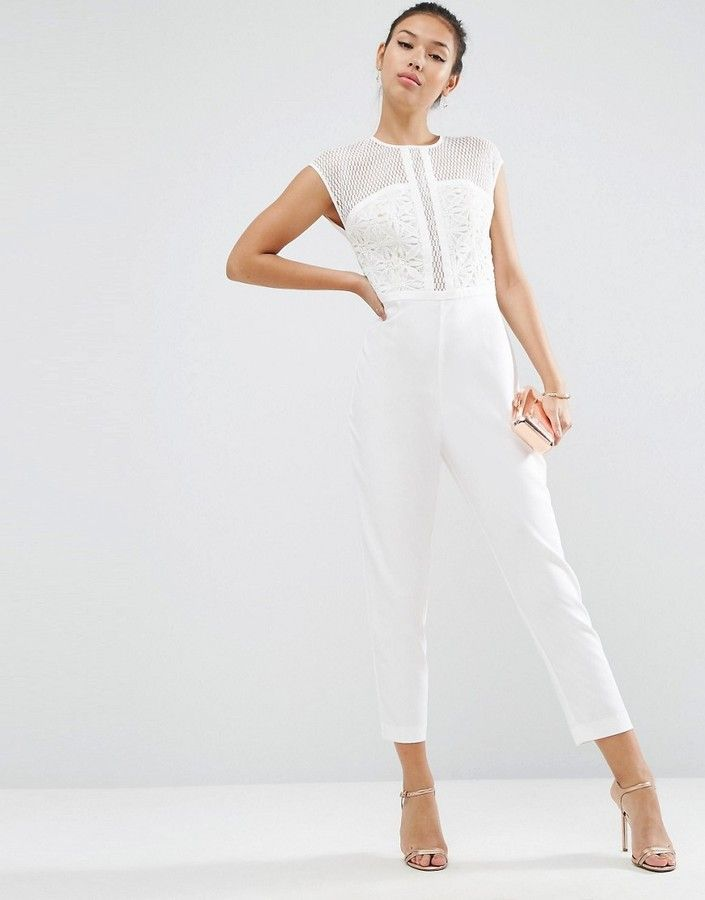 ASOS PREMIUM JUMPSUIT WITH EMBROIDERED PANELS - Jumpsuit by ASOS Collection, Woven fabric, Round neckline, Embroidered panels, Cap sleeves, Empire waist, Button keyhole back, Zip back closure