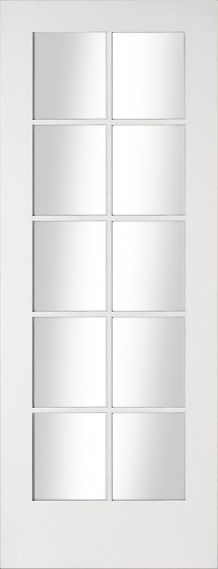Fully Glazed 10 Lite Primed Smooth Glazed Internal Standard Door (H)1981mm (W)610mm