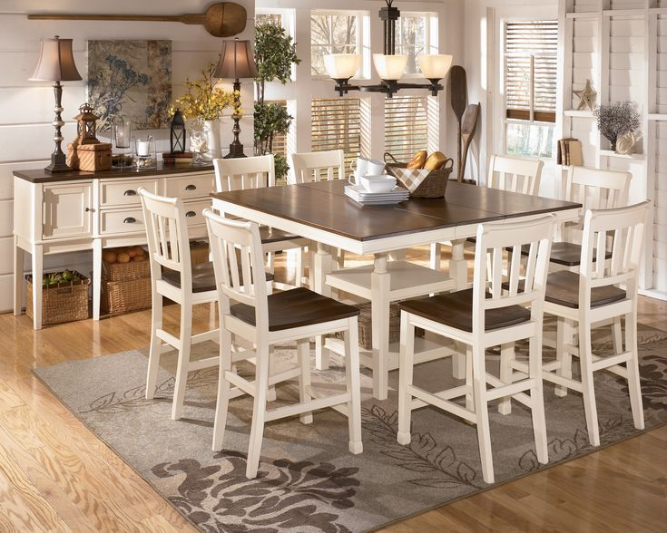 Whitesburg 9 Piece Square Counter Height Extension Table Set In Brown White Pub Dining Set