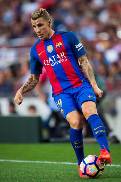 Lucas Digne of FC Barcelona controls the ball during the Joan Gamper trophy match between FC Barcelona and UC Sampdoria at Camp Nou on August 10, 2016 in Barcelona, Catalonia.