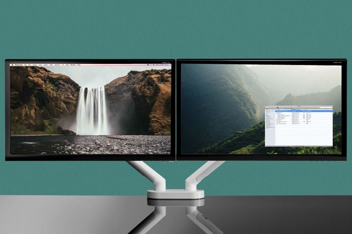 If you dream of having the ideal design setup at work or at home, what you need is the Colebrook Bosson Saunders dual monitor mount. Ergonomically designed and space-saving, it's the key to keeping your desk clear and your designs flowing.