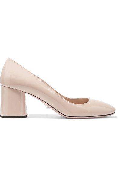 Heel measures approximately 65mm/ 2.5 inches Pastel-pink patent-leather Slip on Designer color: Cipria Made in Italy