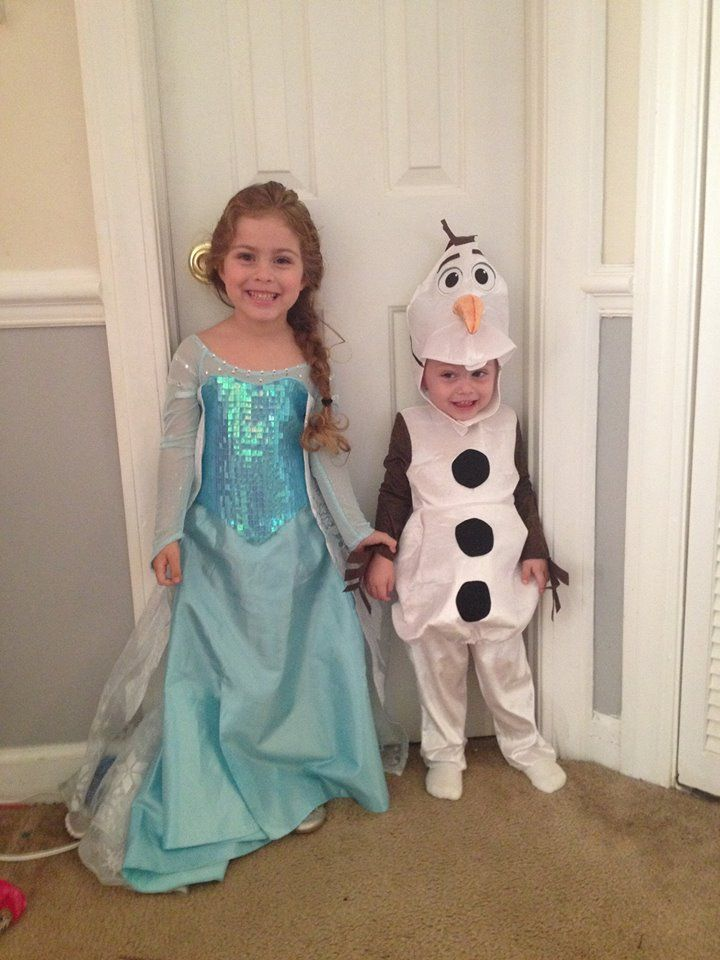 Elsa and Olaf brother and sister costume. My babies looking so cute!