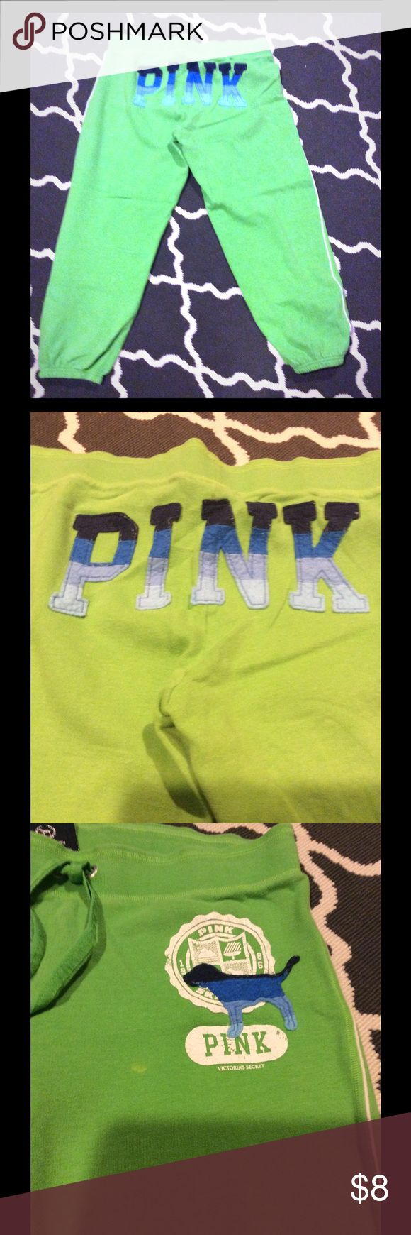 PINK lime green sweat capris PINK lime green sweat capris. Small spot shown in 3rd picture. PINK Victoria's Secret Pants Capris