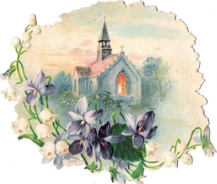 Oblaten Glanzbild scrap die cut chromo  Kirche church Blumen Veilchen