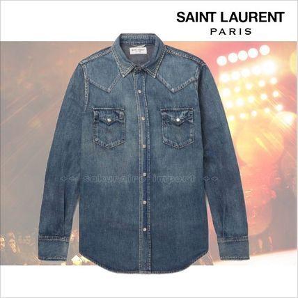 ●2017●Saint Laurent ウォッシュデニムウエスタンシャツ