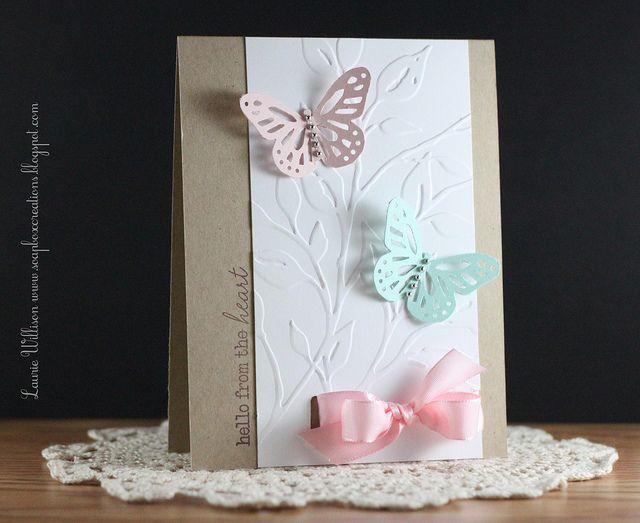 Aqua, Pink, White and Kraft...Cards Ideas, Punch Butterflies, Cards Butterflies, Cards Inspiration, Cards Karten