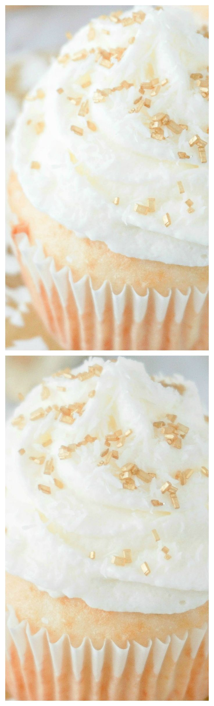 Coconut Champagne New Year's Eve Cupcakes ~ A must have as you count down til midnight with friends and family!