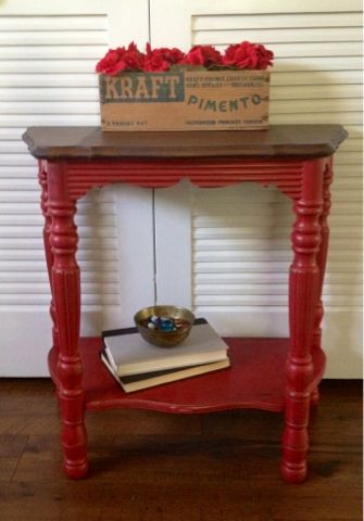 High Quality Blue Hydrangea Furniture: An Itch To Paint Something Red... Distressed  Furniture, Stained Wood Top, Painted Legs | Blue Hydrangea Furniture |  Pinterest ...