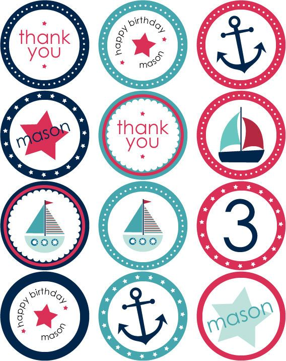 Nautical Party Stickers Cupcake Toppers Photos Download Free