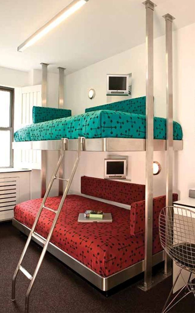 Contemporary bunk beds with stairs