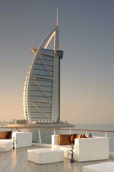 View of Burj Al Arab resort from Jumeirah Beach Hotel, Dubai--offers pristine private beaches