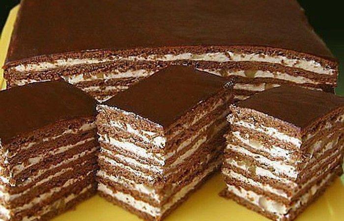 Medové řezy s ořechy a čokoládou