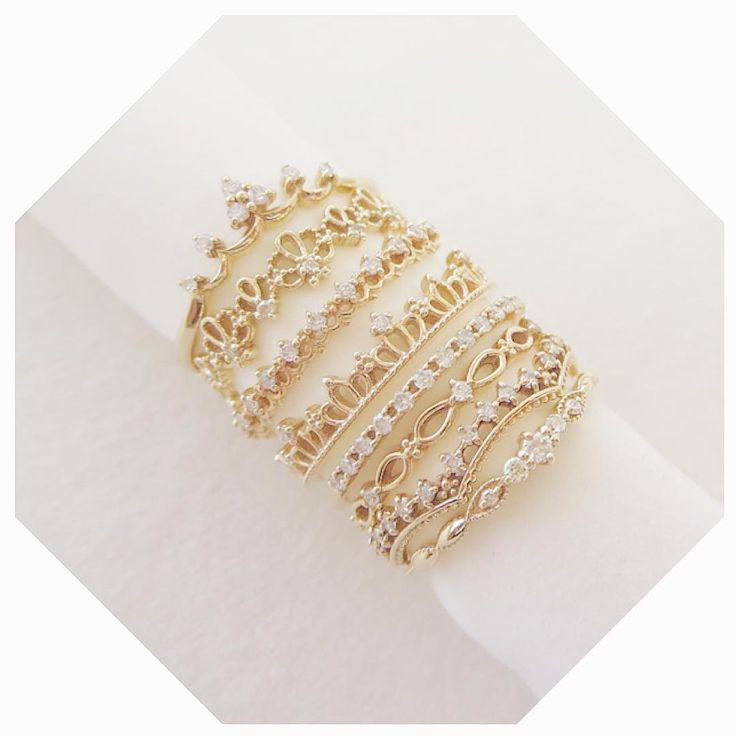 Crochet k10YG diamond rings #tocca #japan