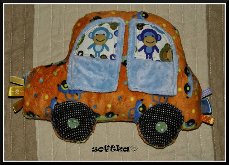 Car pillow made with delicate minky with taggies. Made by Softka.