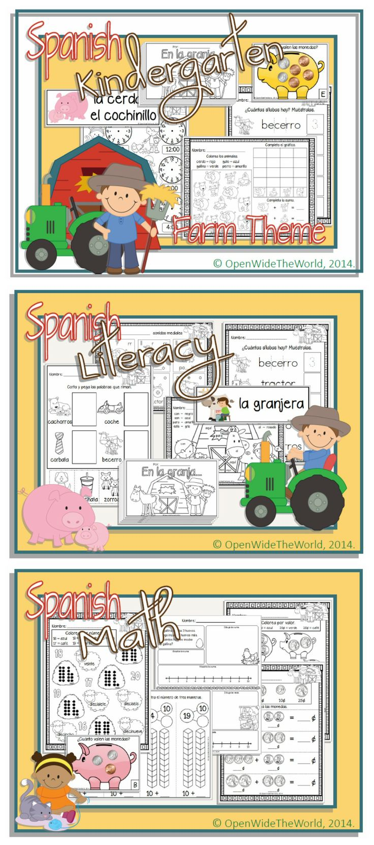 SPANISH dual language/immersion farm-themed MATH and LITERACY KINDERGARTEN pack - with a little science, too! (Grade 1 in some Canadian provinces) No English on student pages!