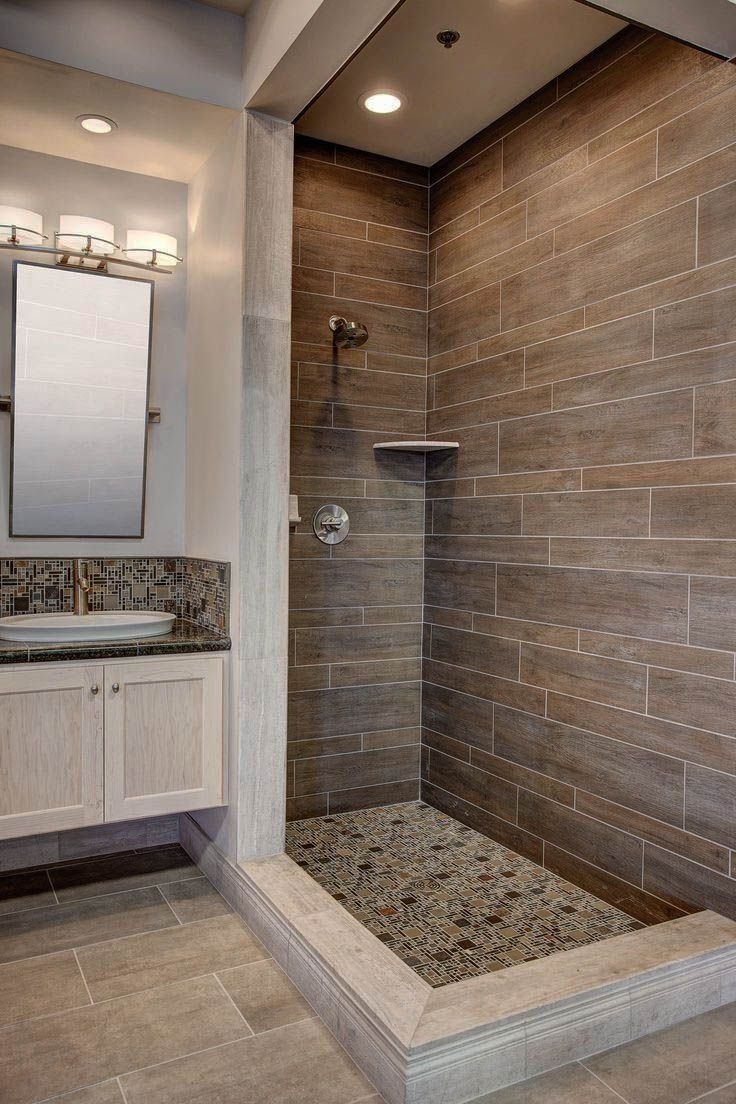 30 Beautiful Shower Room Ceramic Tile Ideas That Will Certainly Inspire Your Next Restoration Zeltahome Com Beige Tile Bathroom Wood Tile Bathroom Bathroom Shower Tile