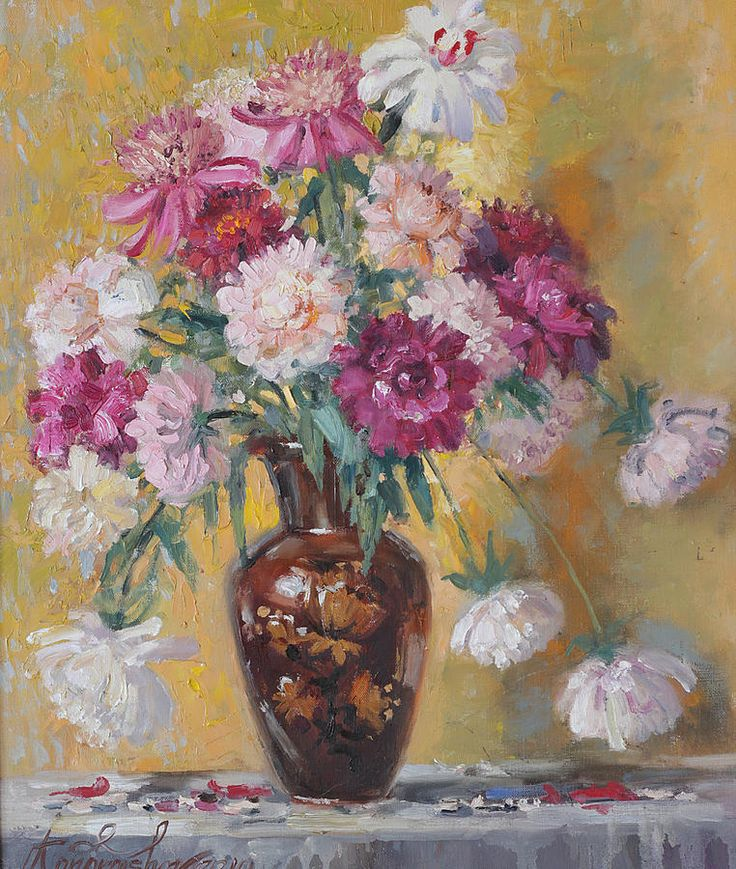 Russian Artists New Wave Painting - Summer Bouquet Of Peonies by Ilya Kondrashov  #RussianArtistsNewWave #OriginalArtForSale  #OriginalPainting #IlyaKondrashov #FloralPainting #Painting