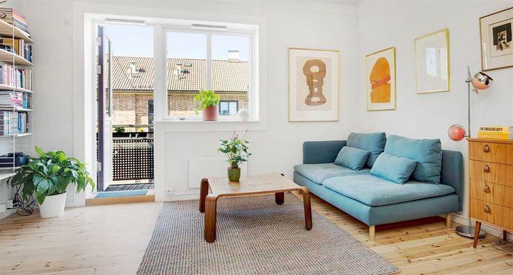 FINN – KAMPEN - Flott lys topp-/hjørneleilighet med solrik balkong, peisovn, høy standard og meget fin romløsning. Muligheter for 2 soverom. Usjenert.
