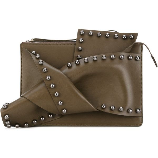 Nº21 studded clutch ($482) ❤ liked on Polyvore featuring bags, handbags, clutches, studded leather handbags, studded handbags, studded clutches, brown handbags and brown purse
